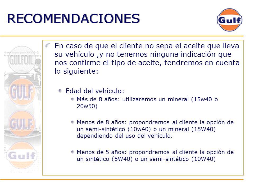RECOMENDACIONES En caso de que el cliente no sepa el aceite que lleva su vehículo,y no tenemos ninguna indicación que nos confirme el tipo de aceite,