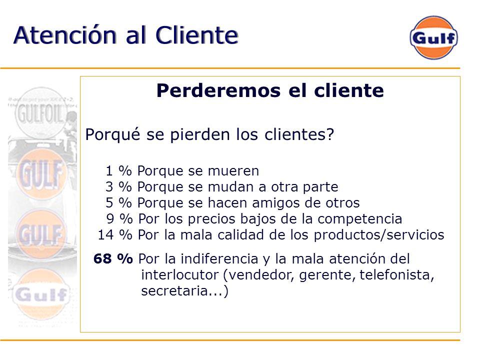 Atención al Cliente Perderemos el cliente Porqué se pierden los clientes? 1 % Porque se mueren 3 % Porque se mudan a otra parte 5 % Porque se hacen am