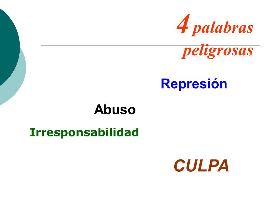 4 palabras peligrosas Abuso Represión Irresponsabilidad CULPA