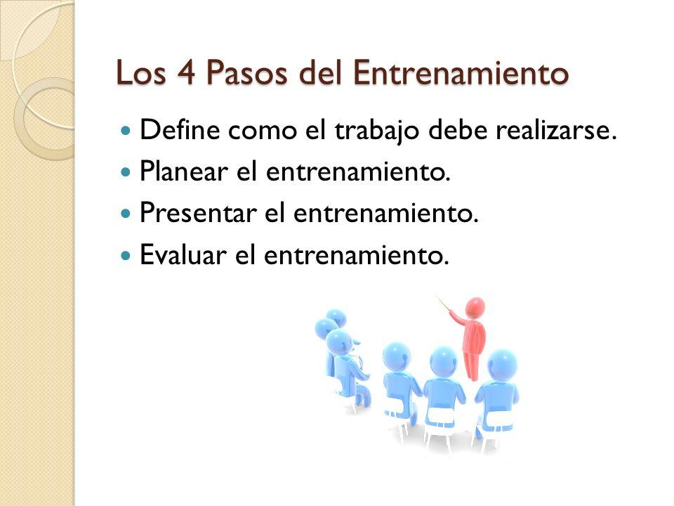 Los 4 Pasos del Entrenamiento Define como el trabajo debe realizarse. Planear el entrenamiento. Presentar el entrenamiento. Evaluar el entrenamiento.