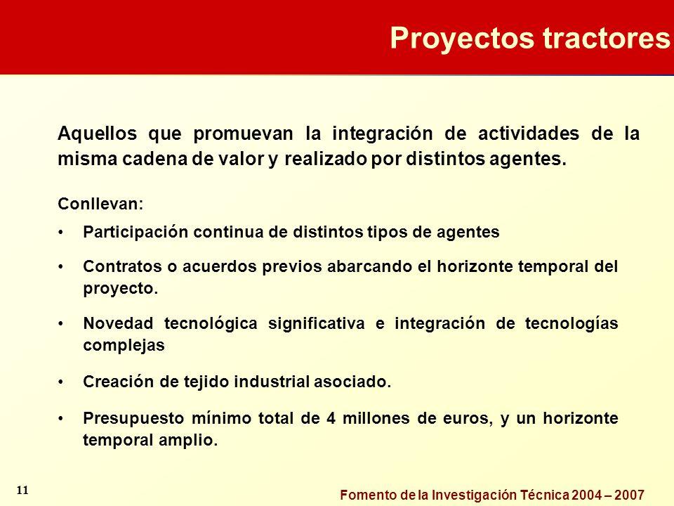 Fomento de la Investigación Técnica 2004 – 2007 Proyectos tractores Aquellos que promuevan la integración de actividades de la misma cadena de valor y