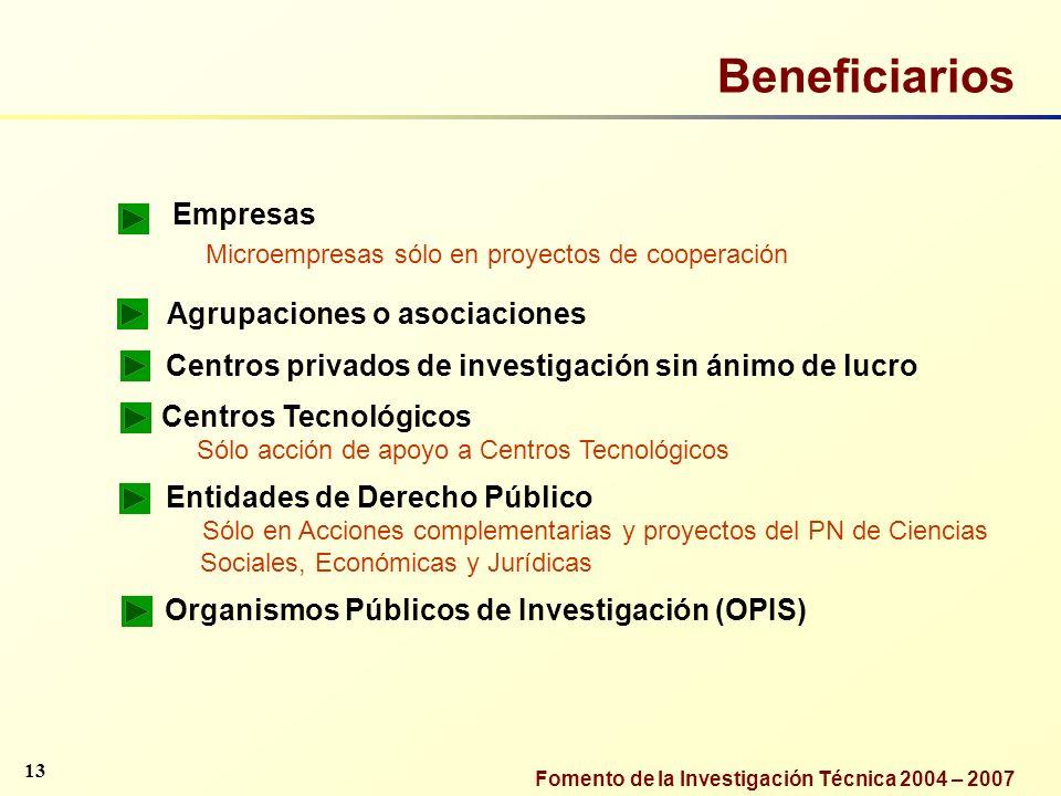 Fomento de la Investigación Técnica 2004 – 2007 Beneficiarios Empresas Microempresas sólo en proyectos de cooperación Agrupaciones o asociaciones Cent