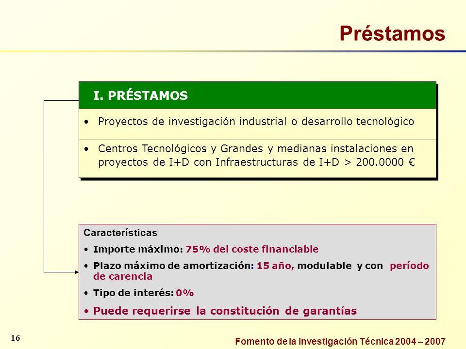 Fomento de la Investigación Técnica 2004 – 2007 I. PRÉSTAMOS Proyectos de investigación industrial o desarrollo tecnológico Centros Tecnológicos y Gra