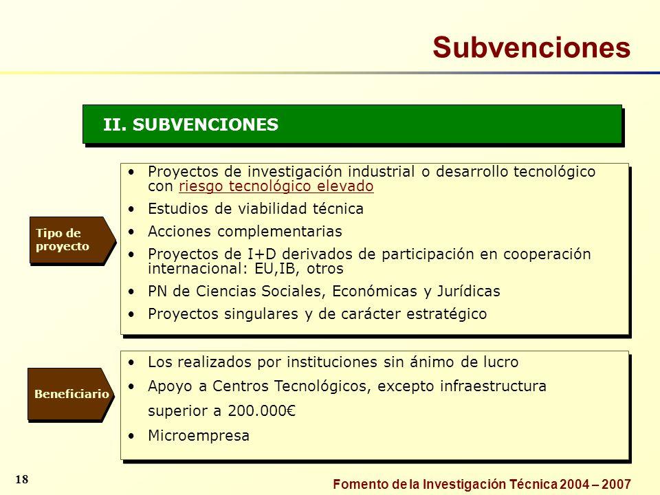 Fomento de la Investigación Técnica 2004 – 2007 II. SUBVENCIONES Proyectos de investigación industrial o desarrollo tecnológico con riesgo tecnológico
