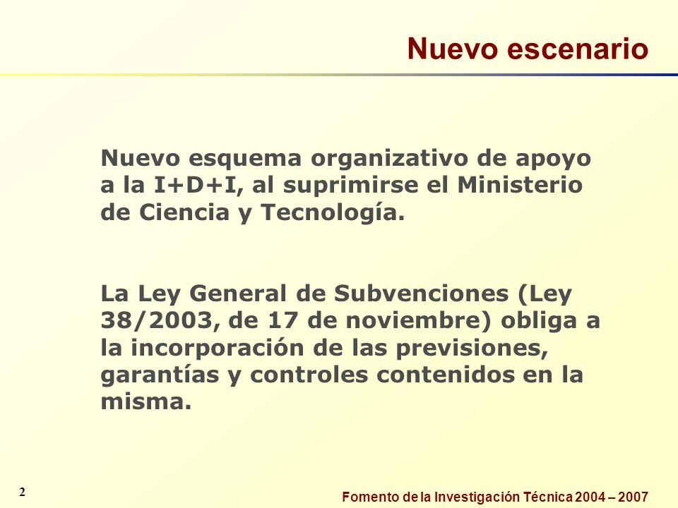 Fomento de la Investigación Técnica 2004 – 2007 Nuevo escenario 2 Nuevo esquema organizativo de apoyo a la I+D+I, al suprimirse el Ministerio de Cienc