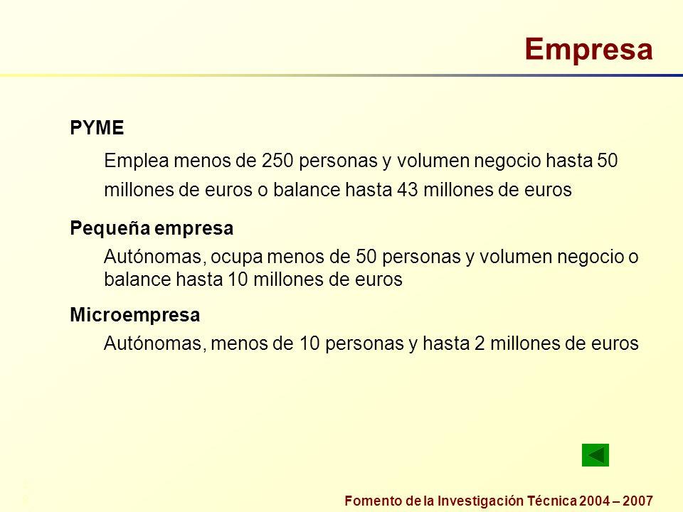 Empresa PYME Emplea menos de 250 personas y volumen negocio hasta 50 millones de euros o balance hasta 43 millones de euros Pequeña empresa Autónomas,