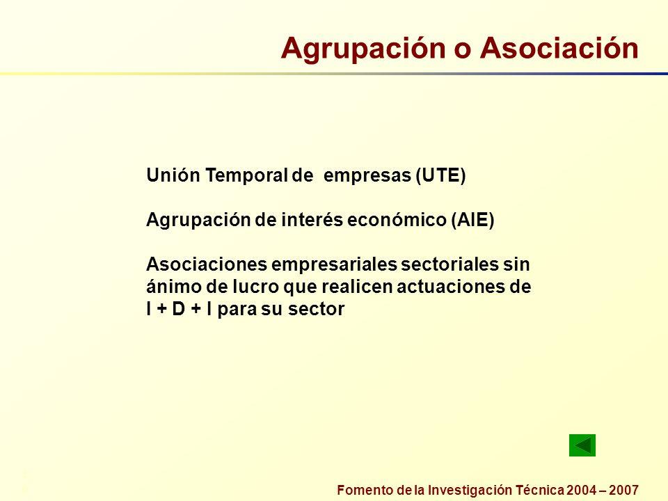 Fomento de la Investigación Técnica 2004 – 2007 Agrupación o Asociación Unión Temporal de empresas (UTE) Agrupación de interés económico (AIE) Asociac