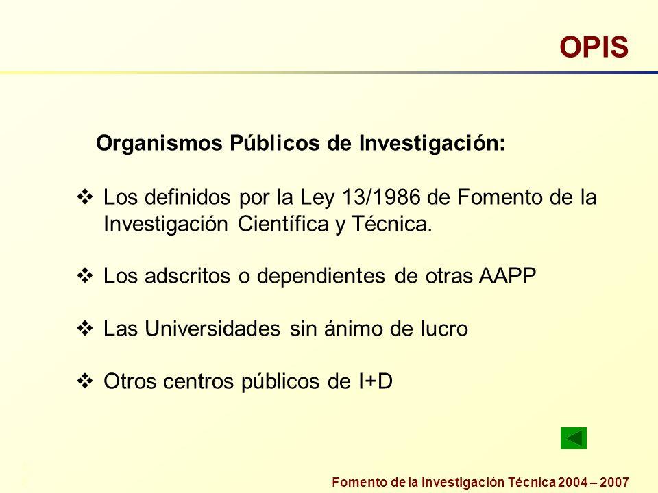 Fomento de la Investigación Técnica 2004 – 2007 OPIS Organismos Públicos de Investigación: 33 Los definidos por la Ley 13/1986 de Fomento de la Invest