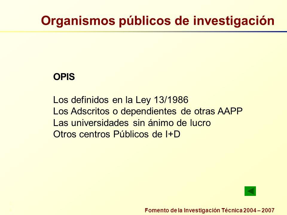 Fomento de la Investigación Técnica 2004 – 2007 Organismos públicos de investigación OPIS Los definidos en la Ley 13/1986 Los Adscritos o dependientes