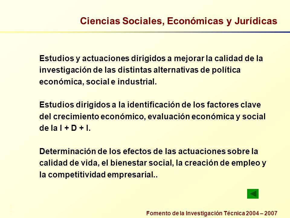 Fomento de la Investigación Técnica 2004 – 2007 Ciencias Sociales, Económicas y Jurídicas Estudios y actuaciones dirigidos a mejorar la calidad de la