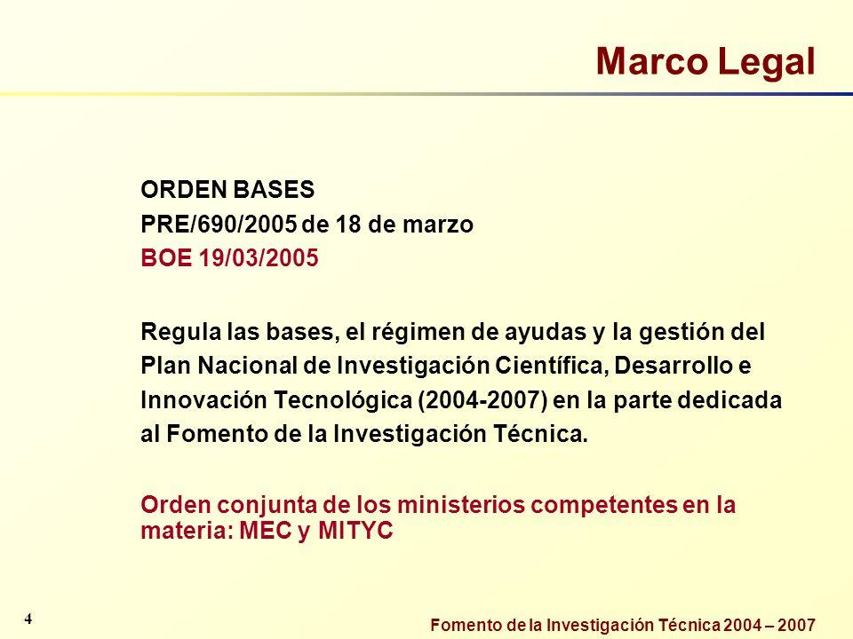 Fomento de la Investigación Técnica 2004 – 2007 Marco Legal ORDEN BASES PRE/690/2005 de 18 de marzo BOE 19/03/2005 Regula las bases, el régimen de ayu