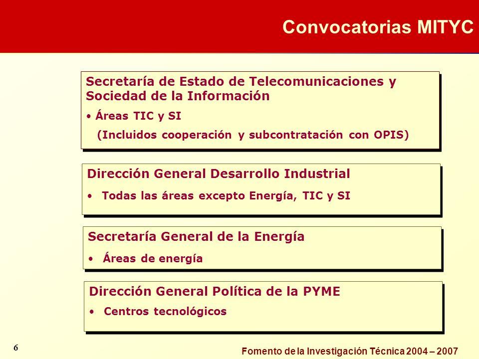 Fomento de la Investigación Técnica 2004 – 2007 Secretaría de Estado de Telecomunicaciones y Sociedad de la Información Áreas TIC y SI (Incluidos coop