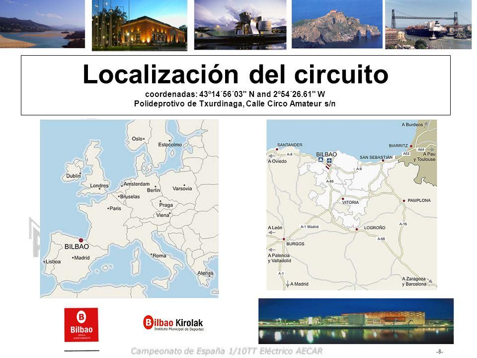 -8--8- Campeonato de España 1/10TT Eléctrico AECAR Localización del circuito coordenadas: 43º14´56´03