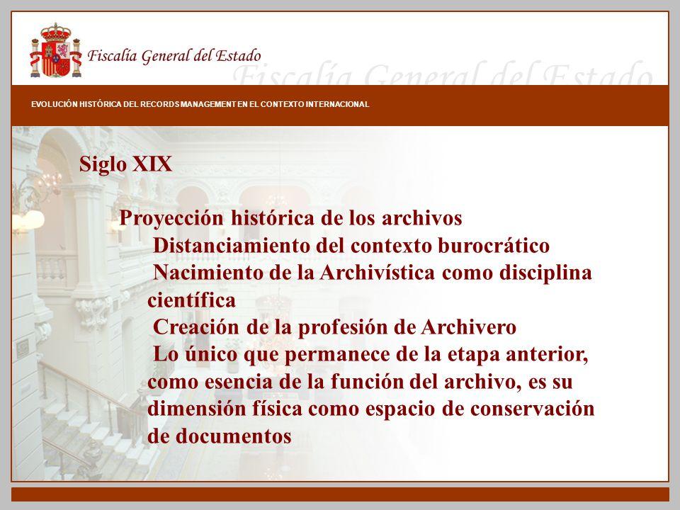 Fiscalía General del Estado EVOLUCIÓN HISTÓRICA DEL RECORDS MANAGEMENT EN EL CONTEXTO INTERNACIONAL Siglo XIX Proyección histórica de los archivos Dis