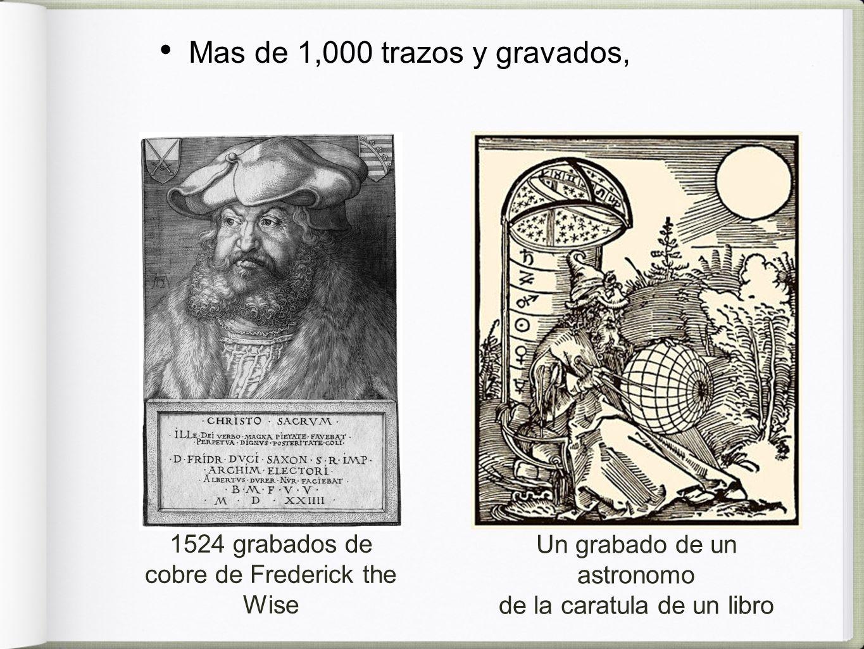 Mas de 1,000 trazos y gravados, 1524 grabados de cobre de Frederick the Wise Un grabado de un astronomo de la caratula de un libro