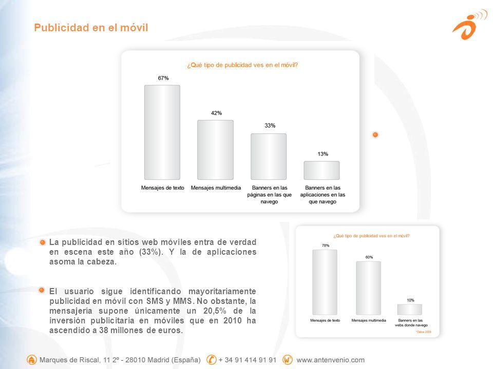 La publicidad en sitios web móviles entra de verdad en escena este año (33%). Y la de aplicaciones asoma la cabeza. El usuario sigue identificando may