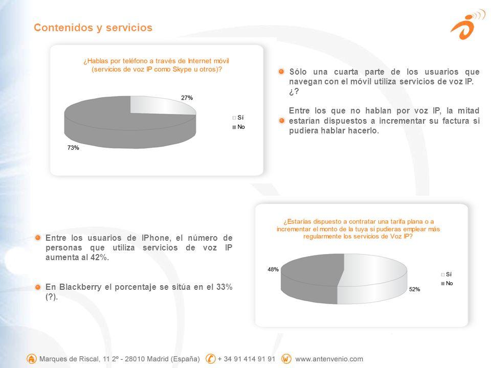 Sólo una cuarta parte de los usuarios que navegan con el móvil utiliza servicios de voz IP. ¿? Entre los que no hablan por voz IP, la mitad estarían d