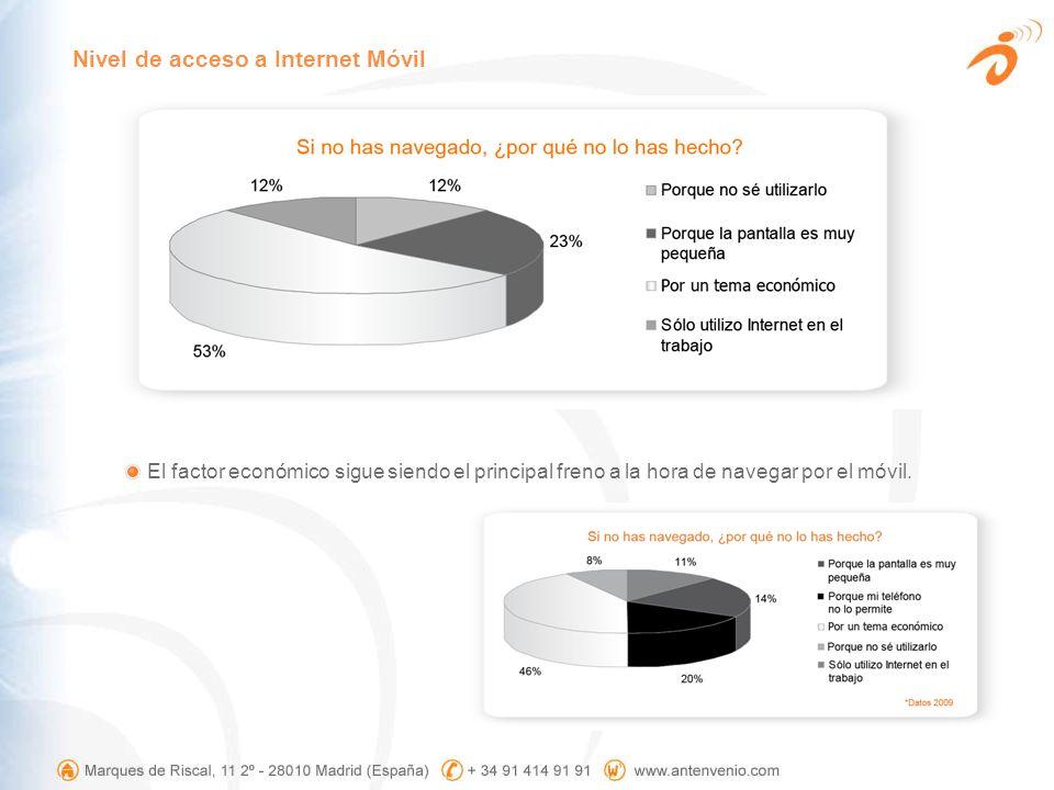 El factor económico sigue siendo el principal freno a la hora de navegar por el móvil. Nivel de acceso a Internet Móvil