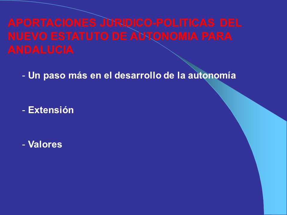 APORTACIONES JURIDICO-POLITICAS DEL NUEVO ESTATUTO DE AUTONOMIA PARA ANDALUCIA - Un paso más en el desarrollo de la autonomía - Extensión - Valores