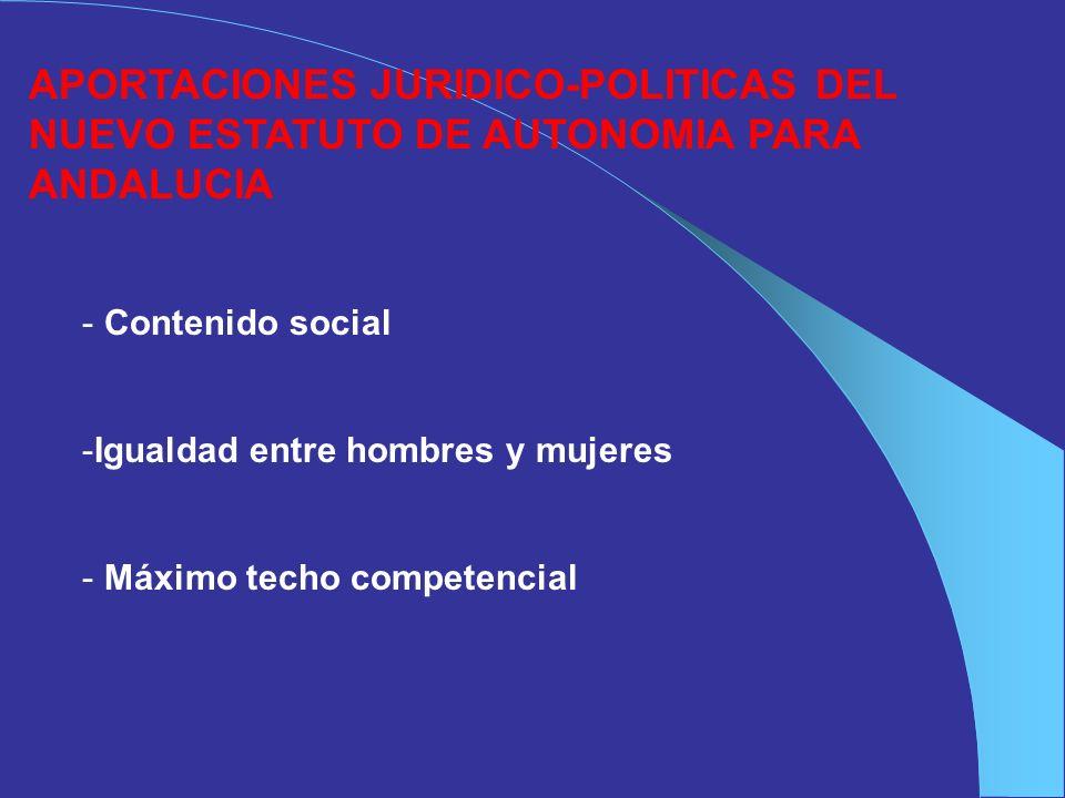 APORTACIONES JURIDICO-POLITICAS DEL NUEVO ESTATUTO DE AUTONOMIA PARA ANDALUCIA - Contenido social -Igualdad entre hombres y mujeres - Máximo techo com