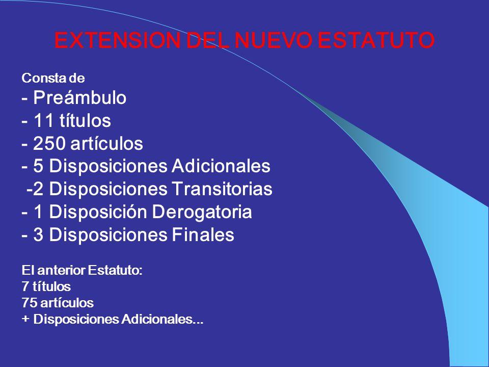EXTENSION DEL NUEVO ESTATUTO Consta de - Preámbulo - 11 títulos - 250 artículos - 5 Disposiciones Adicionales -2 Disposiciones Transitorias - 1 Dispos