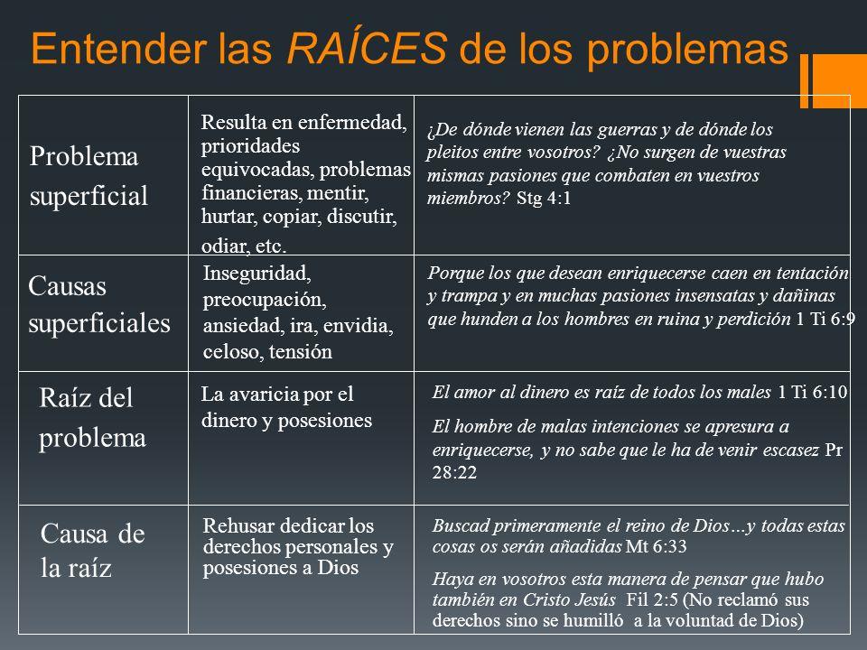 Entender las RAÍCES de los problemas Problema superficial Resulta en enfermedad, prioridades equivocadas, problemas financieras, mentir, hurtar, copia
