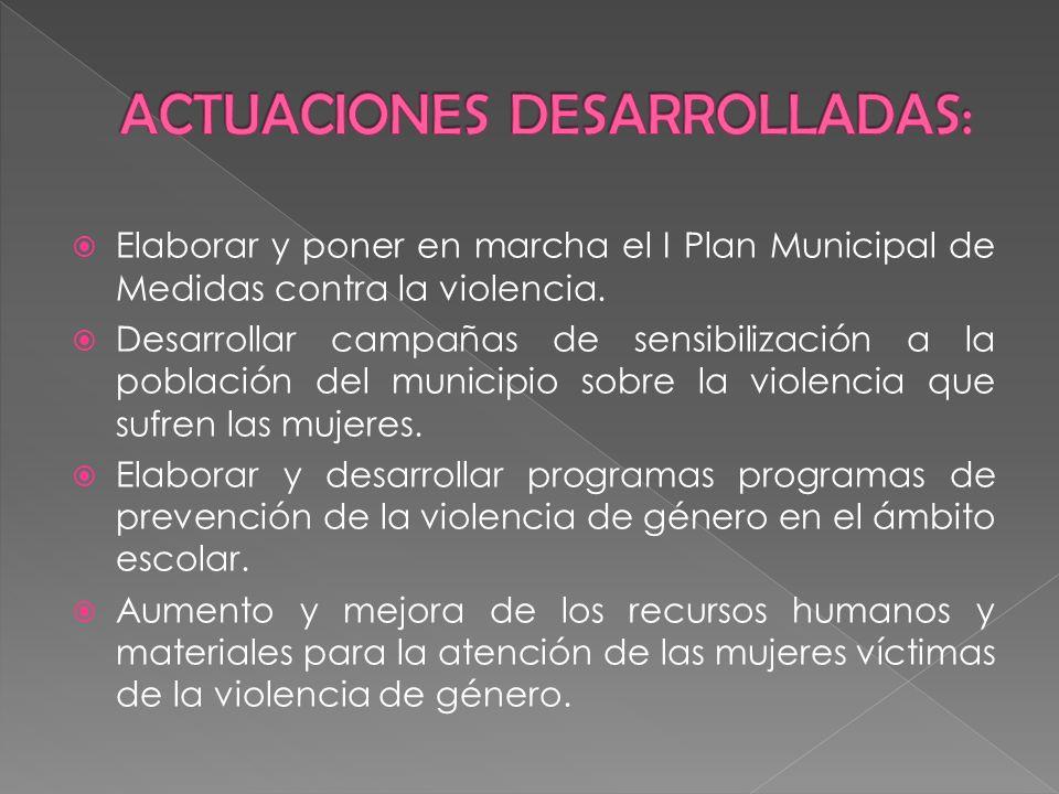 Elaborar y poner en marcha el I Plan Municipal de Medidas contra la violencia. Desarrollar campañas de sensibilización a la población del municipio so