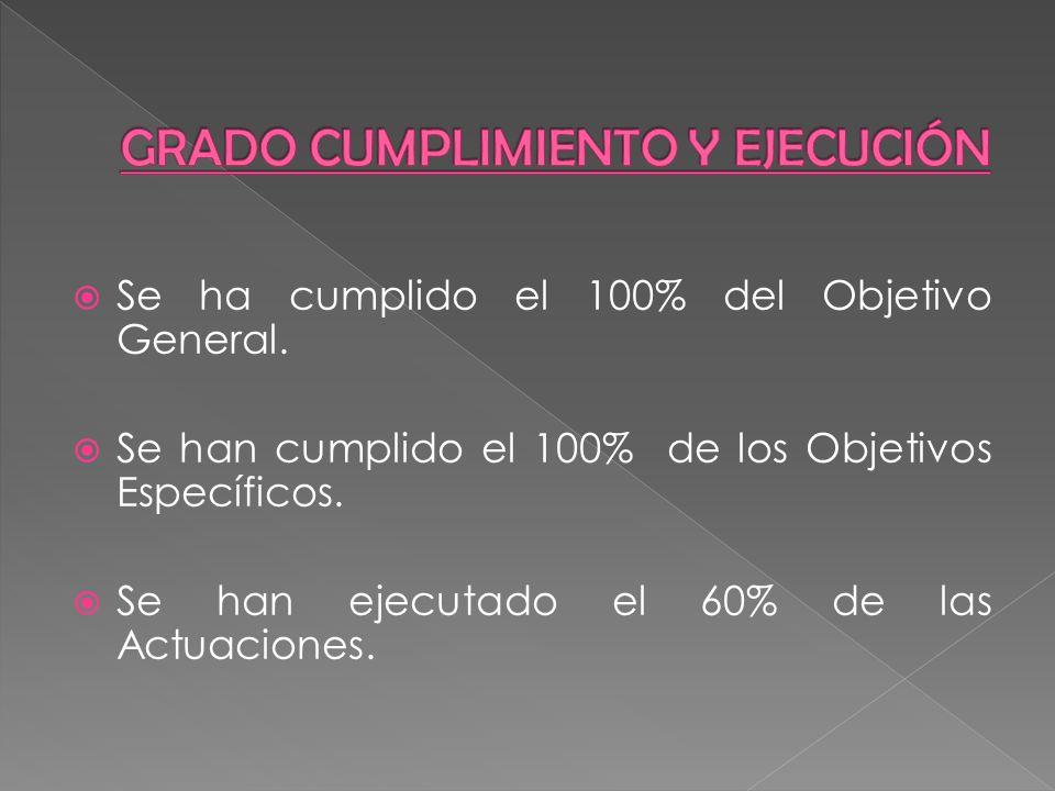 Se ha cumplido el 100% del Objetivo General. Se han cumplido el 100% de los Objetivos Específicos. Se han ejecutado el 60% de las Actuaciones.