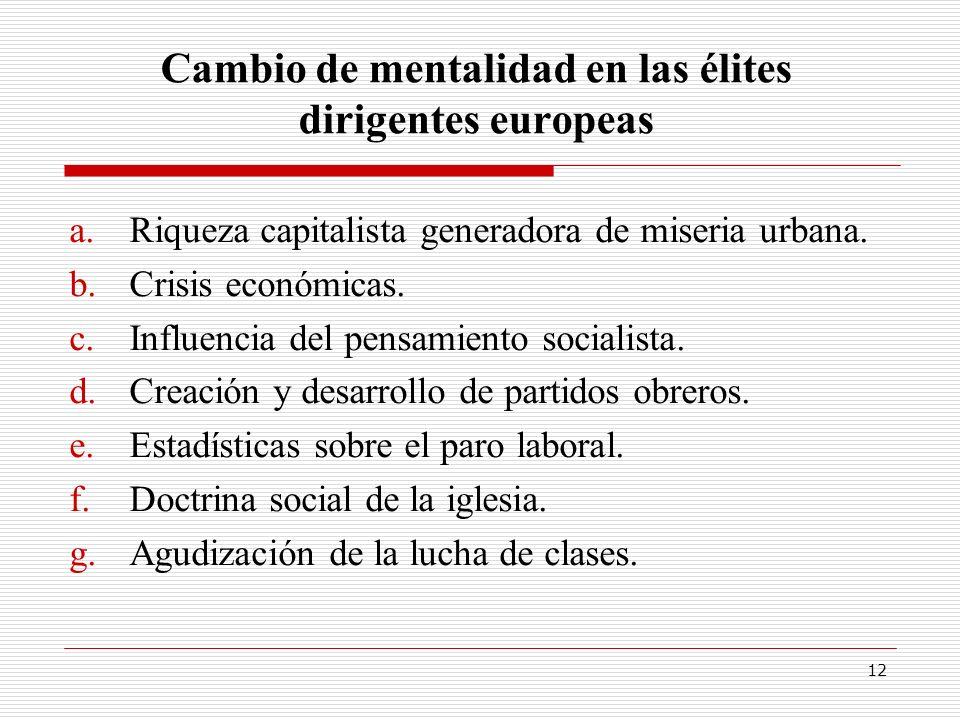 12 Cambio de mentalidad en las élites dirigentes europeas a.Riqueza capitalista generadora de miseria urbana. b.Crisis económicas. c.Influencia del pe