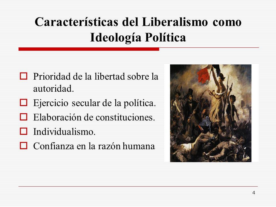 4 Características del Liberalismo como Ideología Política Prioridad de la libertad sobre la autoridad. Ejercicio secular de la política. Elaboración d