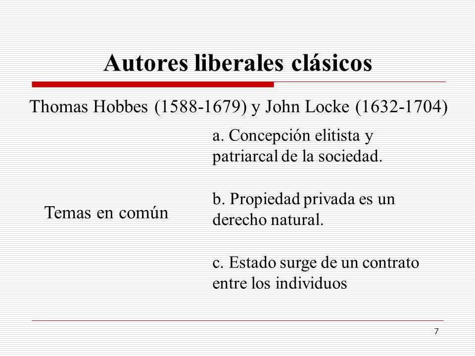 7 Autores liberales clásicos Thomas Hobbes (1588-1679) y John Locke (1632-1704) Temas en común a. Concepción elitista y patriarcal de la sociedad. b.