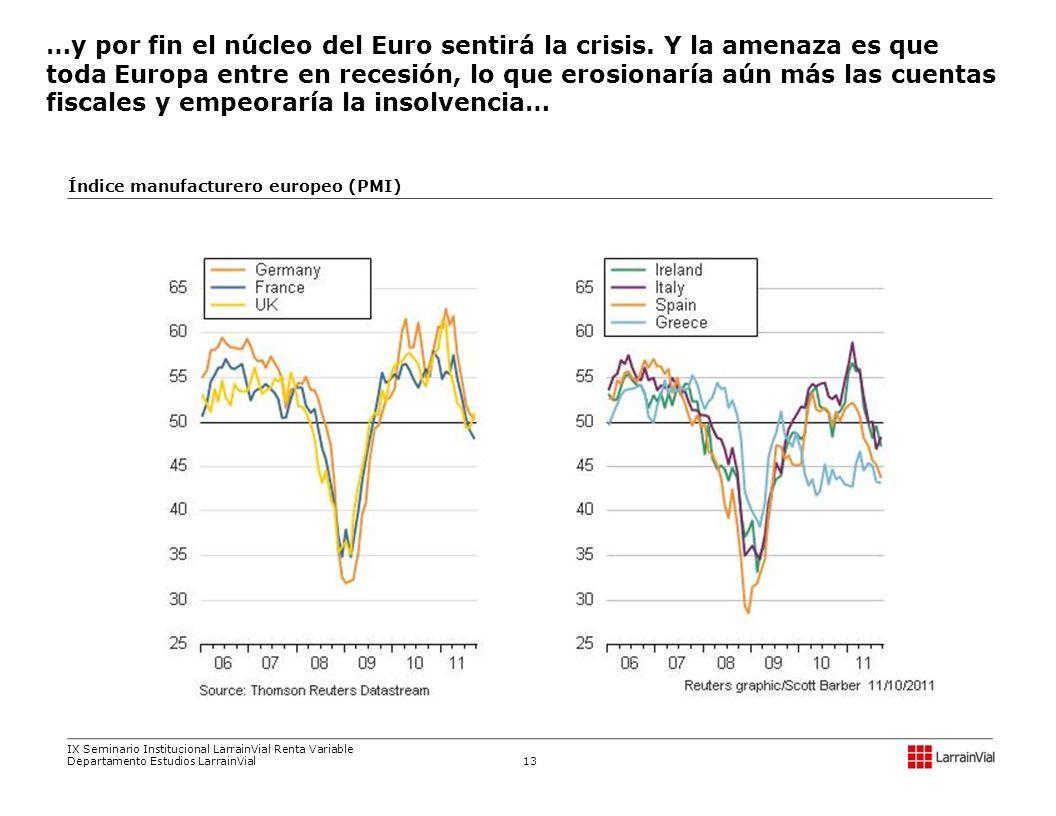 …y por fin el núcleo del Euro sentirá la crisis. Y la amenaza es que toda Europa entre en recesión, lo que erosionaría aún más las cuentas fiscales y