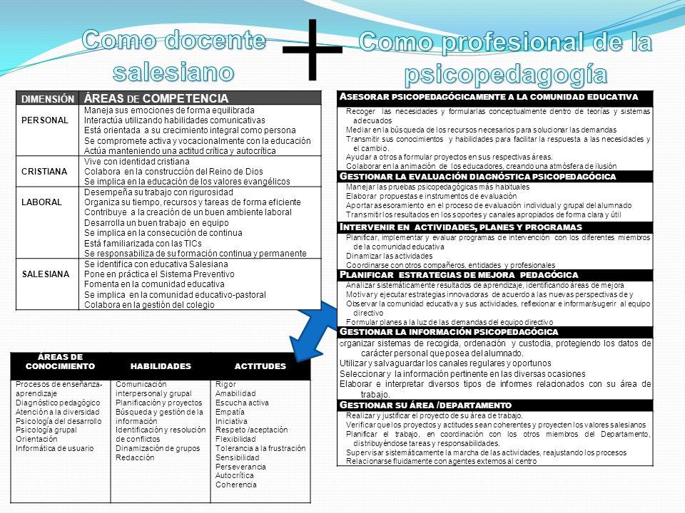 ÁREAS DE CONOCIMIENTOHABILIDADESACTITUDES Procesos de enseñanza- aprendizaje Diagnóstico pedagógico Atención a la diversidad Psicología del desarrollo