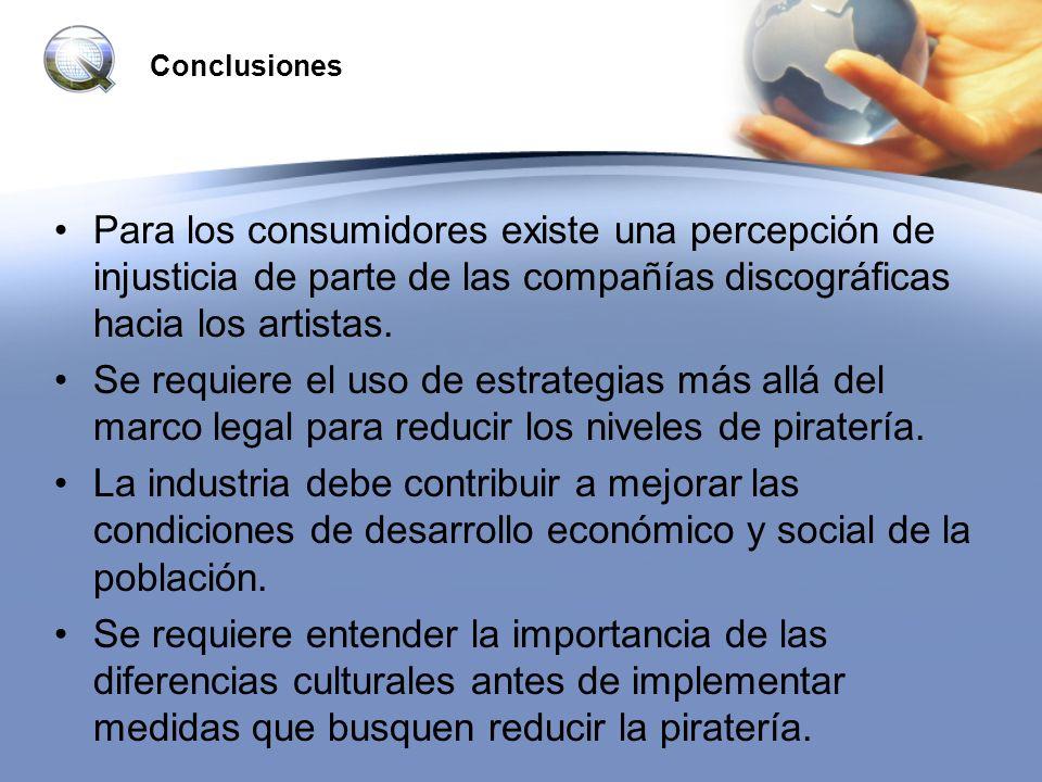 Conclusiones Para los consumidores existe una percepción de injusticia de parte de las compañías discográficas hacia los artistas. Se requiere el uso
