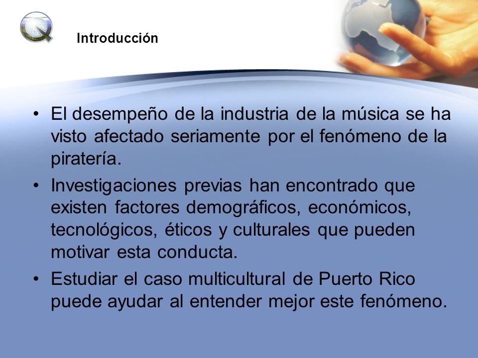 Introducción El desempeño de la industria de la música se ha visto afectado seriamente por el fenómeno de la piratería. Investigaciones previas han en
