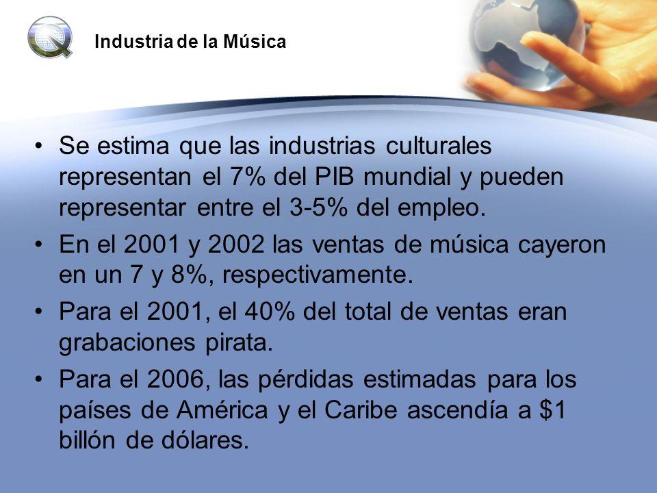Industria de la Música Se estima que las industrias culturales representan el 7% del PIB mundial y pueden representar entre el 3-5% del empleo. En el