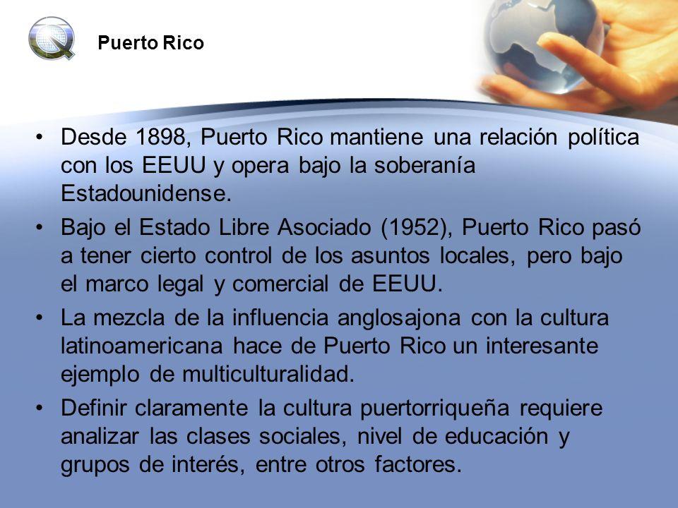Puerto Rico Desde 1898, Puerto Rico mantiene una relación política con los EEUU y opera bajo la soberanía Estadounidense. Bajo el Estado Libre Asociad