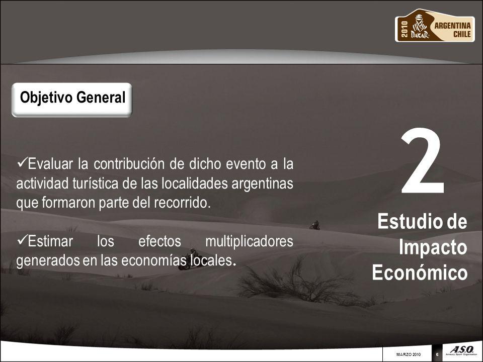 MARZO 201066 Evaluar la contribución de dicho evento a la actividad turística de las localidades argentinas que formaron parte del recorrido. Estimar