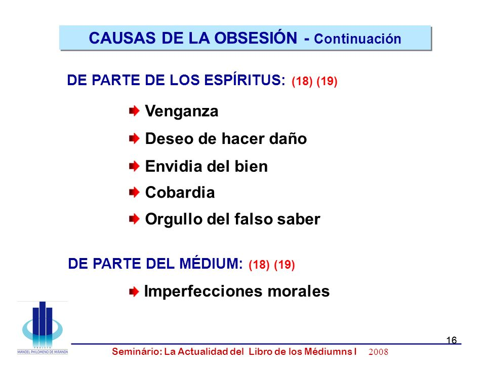 16 Seminário: La Actualidad del Libro de los Médiumns I 2008 16 Venganza Deseo de hacer daño Envidia del bien Cobardia Orgullo del falso saber CAUSAS