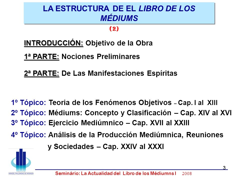 3 Seminário: La Actualidad del Libro de los Médiumns I 2008 3 LA ESTRUCTURA DE EL LIBRO DE LOS MÉDIUMS 1º Tópico: Teoria de los Fenómenos Objetivos –