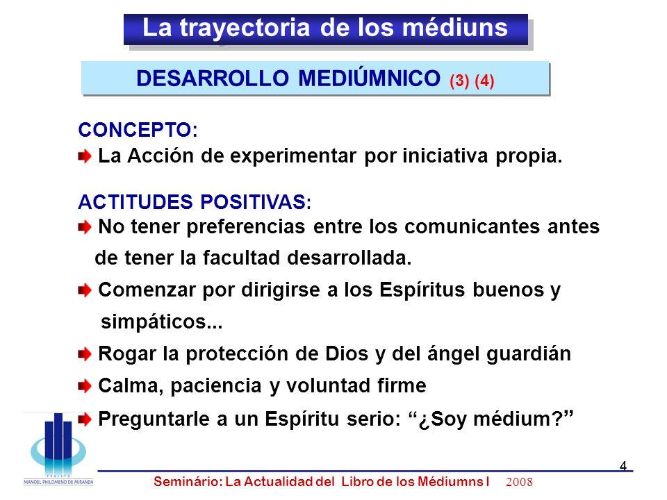 5 Seminário: La Actualidad del Libro de los Médiumns I 2008 5 CONDICIONES FACILITADORAS: (3) (4) Auxilio magnético de otro médium Un guía (dirigente) experimentado Reunirse con personas interesadas en el mismo objetivo Estudo previo de la teoria CUANDO RENUNCIAR: (3) (4) Despues de varias tentativas infructíferas Ejercicios preliminares desvirtuándose Improductividad DESARROLLO MEDIÚMNICO - Continuación - DESARROLLO MEDIÚMNICO - Continuación -