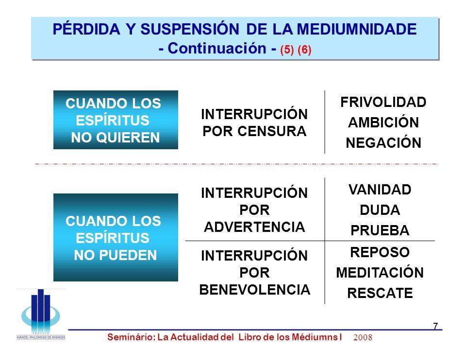 7 Seminário: La Actualidad del Libro de los Médiumns I 2008 7 CUANDO LOS ESPÍRITUS NO QUIEREN CUANDO LOS ESPÍRITUS NO PUEDEN INTERRUPCIÓN POR ADVERTEN