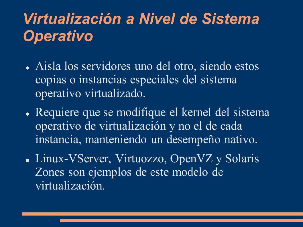 Virtualización a Nivel de Sistema Operativo Aisla los servidores uno del otro, siendo estos copias o instancias especiales del sistema operativo virtu