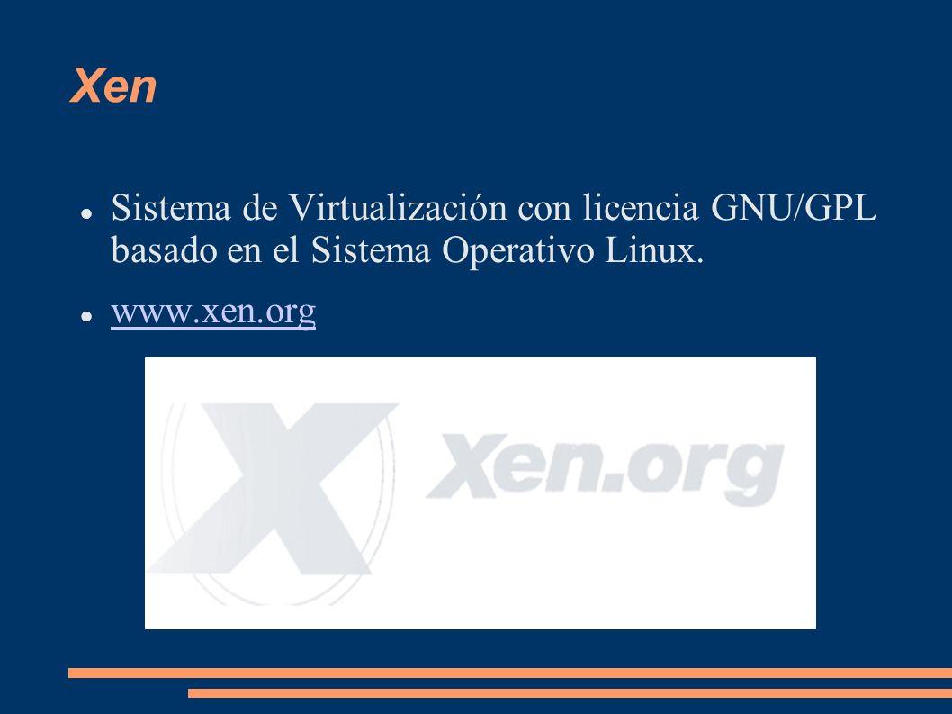 Xen Sistema de Virtualización con licencia GNU/GPL basado en el Sistema Operativo Linux. www.xen.org