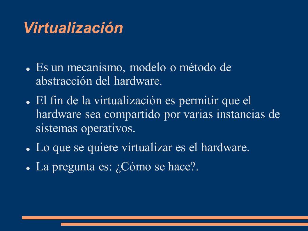 Paravirtualización Hardware (Físico) Hypervisor (VMM = Virtual Machine Mediator) Sistema Operativo Invitado Modificado I Sistema Operativo Invitado Modificado II Interfaz de Administración - Monitoreo del Hypervisor Modificaciones Sistema Operativo Invitado Modificado III Modificaciones