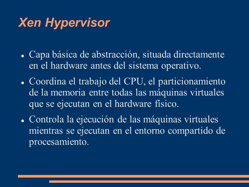 Xen Hypervisor Capa básica de abstracción, situada directamente en el hardware antes del sistema operativo. Coordina el trabajo del CPU, el particiona