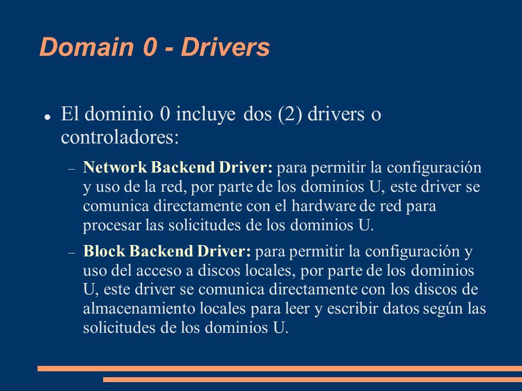 Domain 0 - Drivers El dominio 0 incluye dos (2) drivers o controladores: Network Backend Driver: para permitir la configuración y uso de la red, por p