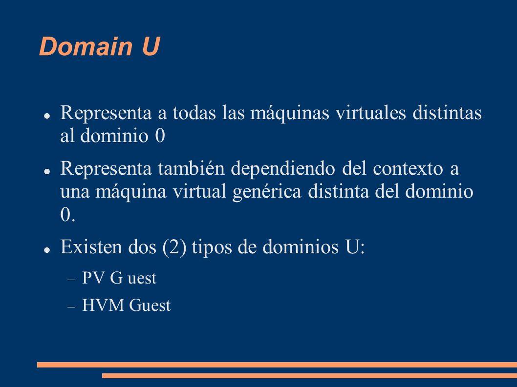 Domain U Representa a todas las máquinas virtuales distintas al dominio 0 Representa también dependiendo del contexto a una máquina virtual genérica d
