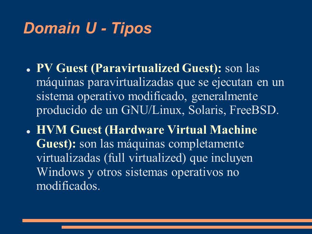 Domain U - Tipos PV Guest (Paravirtualized Guest): son las máquinas paravirtualizadas que se ejecutan en un sistema operativo modificado, generalmente