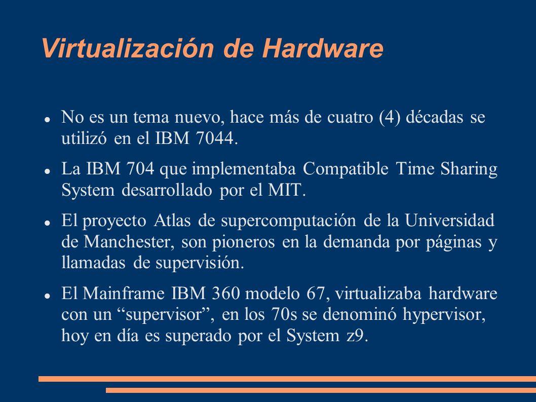 Virtualización de Hardware No es un tema nuevo, hace más de cuatro (4) décadas se utilizó en el IBM 7044. La IBM 704 que implementaba Compatible Time